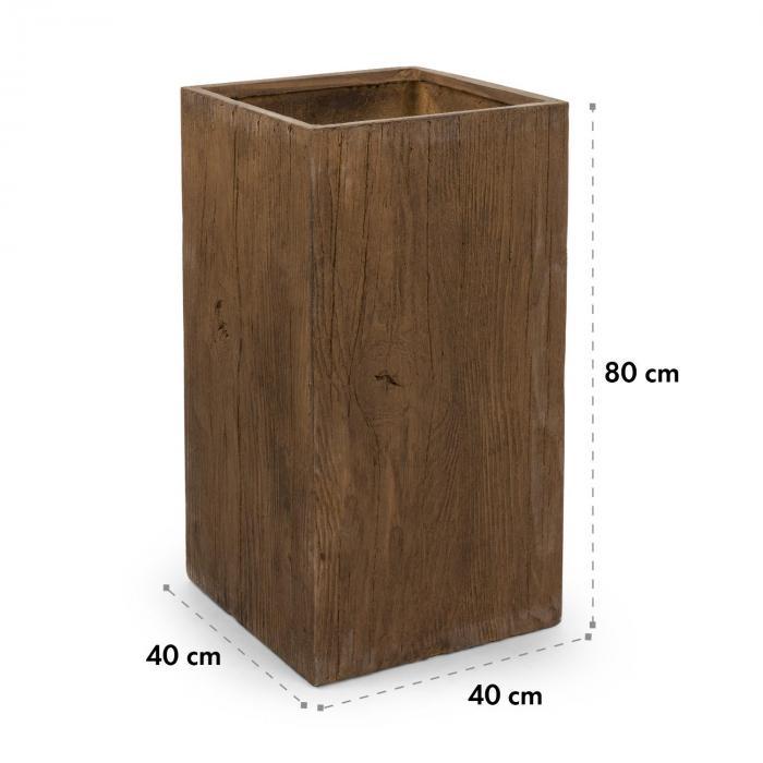 Timberflor kukkaruukku 40 x 80 x 40 cm lasikuitu sisä-/ulkokäyttöön ruskea