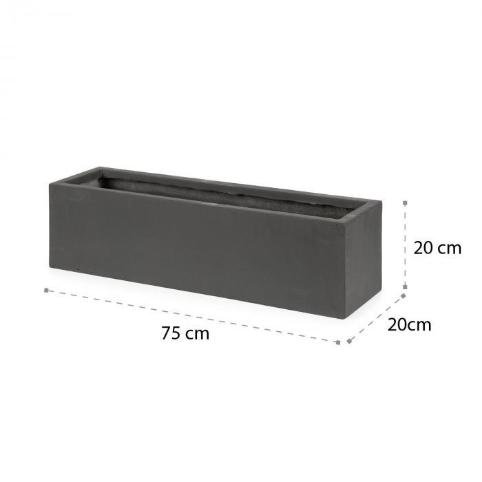 Solidflor pojemnik na rośliny 75x20x20cm włókno szklane użytkowanie wewnątrz/na zewnątrz ciemnoszary