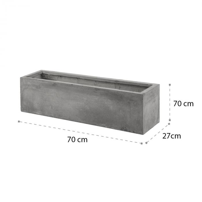 Solidflor Pflanztopf 75 x 20 x 20 cm Fiberglas In-/Outdoor hellgrau