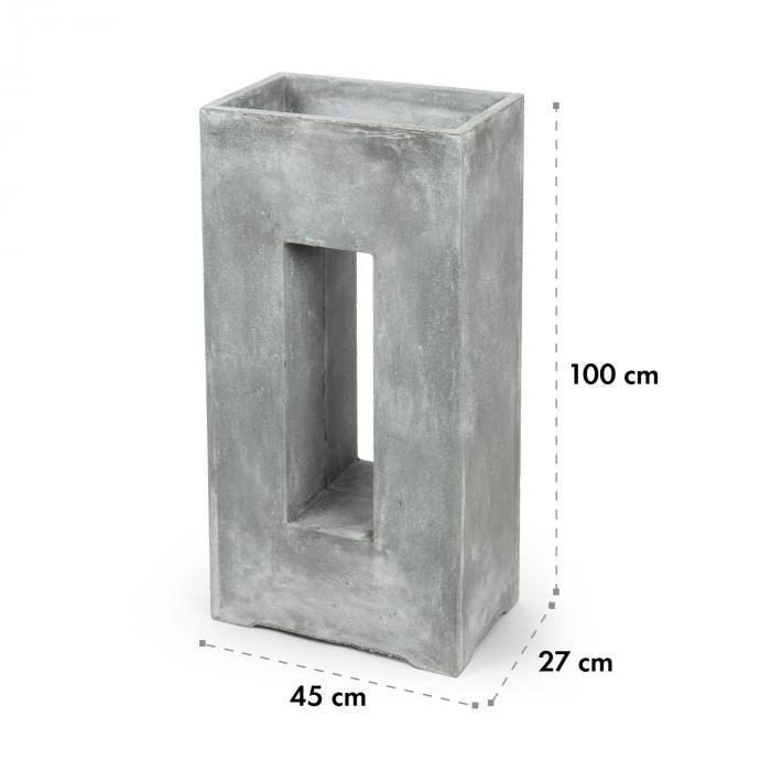 Airflor bloempot 45 x 100 x 27 cm glasvezel binnen/buiten lichtgrijs