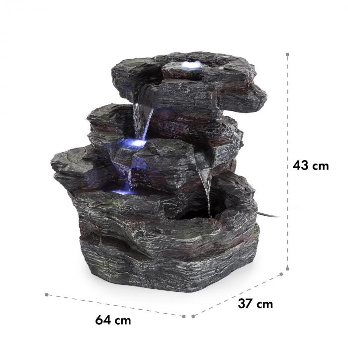 Rochester Falls Fontana da Giardino IPX8 6 W in Poliresina 3 LED Effetto Pietra