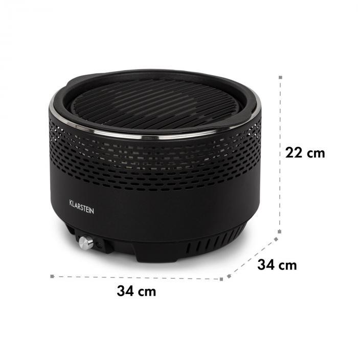Micro-Q 3131 Charcoal Grill, Round, 31 cm (Ø) Grill Grate, Black