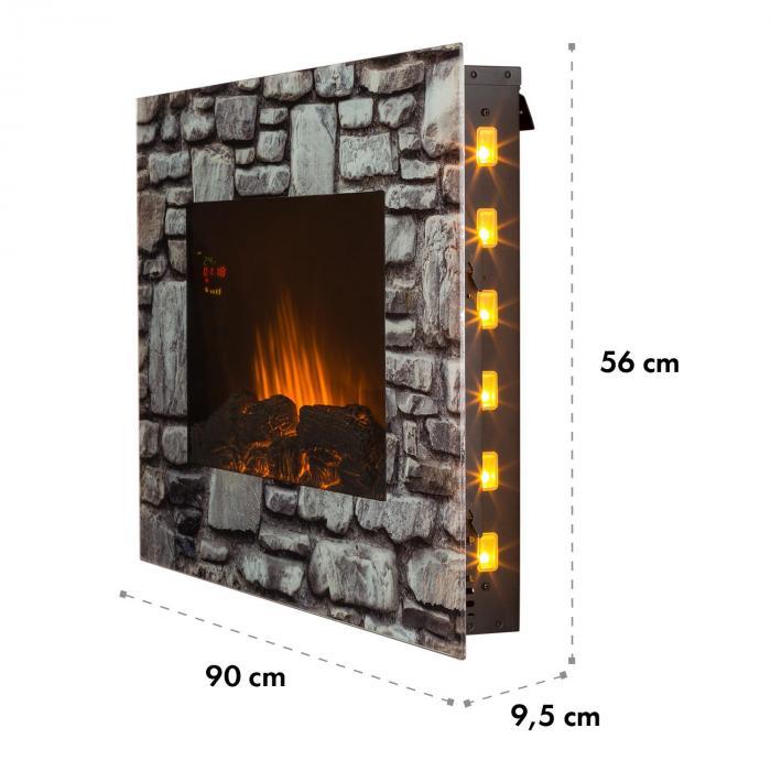 Colmar sähkötakka lasi 2000W 7 LED-värit kaukosäädin