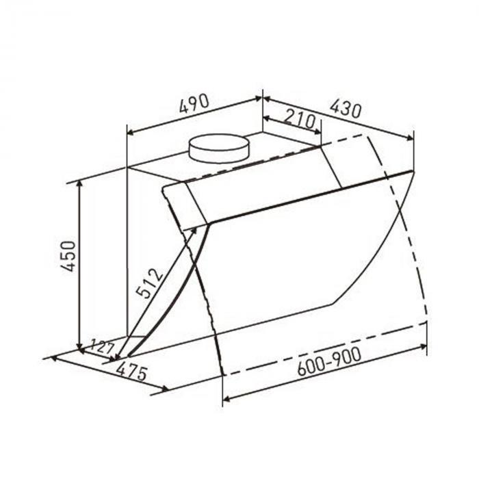 Annabelle 90 Dunstabzugshaube Glas 650 m3/h Touch-Armatur schwarz
