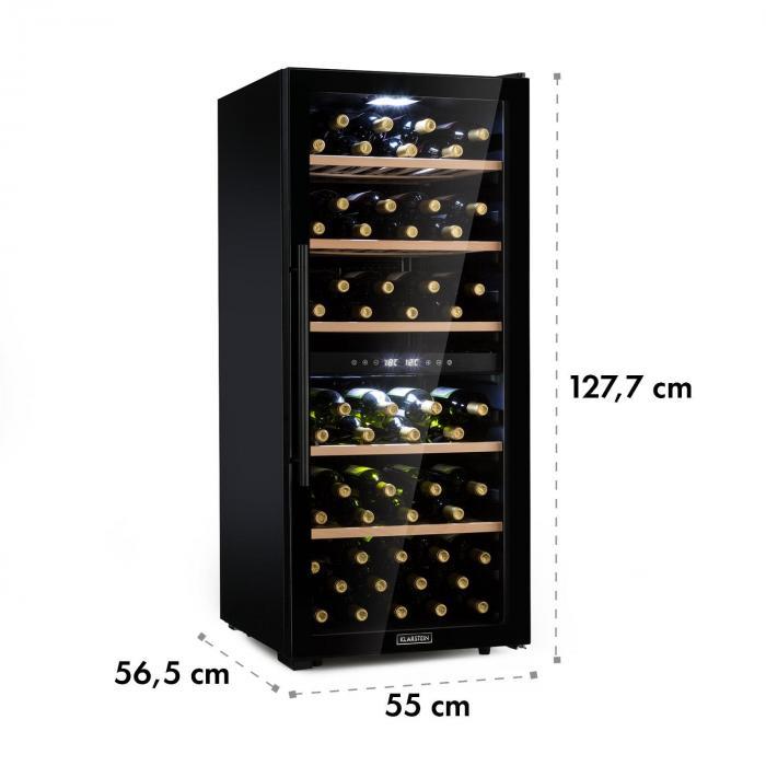 Barossa 102D Frigorifero per Vini 2 Zone 102 Bottiglie Touch LED nero