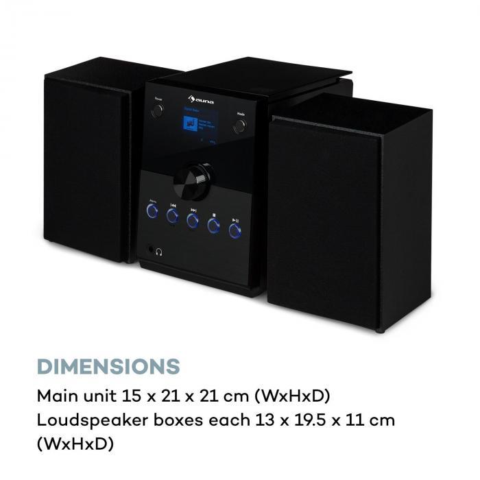 Mc 30 Dab Dab Micro Stereo Installatie 2 Boxen Dab Fm Bluetooth Cd Speler 20w Max Zwart