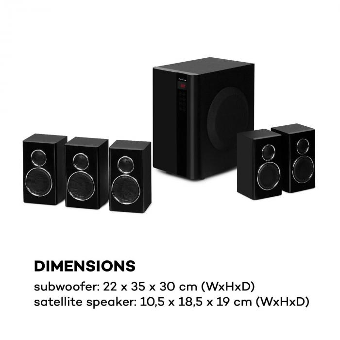 Areal Touch 5.1 Sistema di Casse 200 W max. OneSide Subwoofer BT USB SD