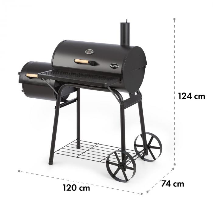 Beef Brisket Smoker Grill Thermometer Wheels Cover Black