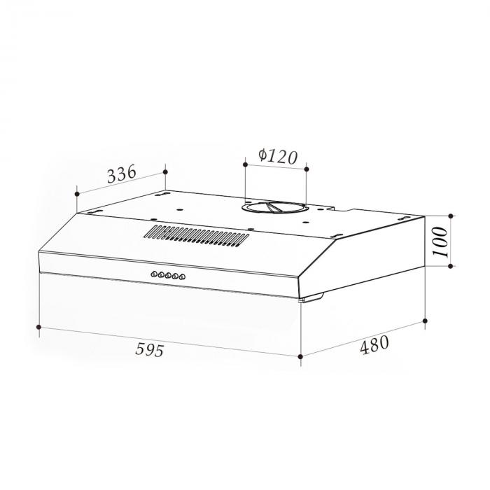 Contempo Unterbau-Dunstabzugshaube 60cm 175m³/h LED Edelstahl Acryl