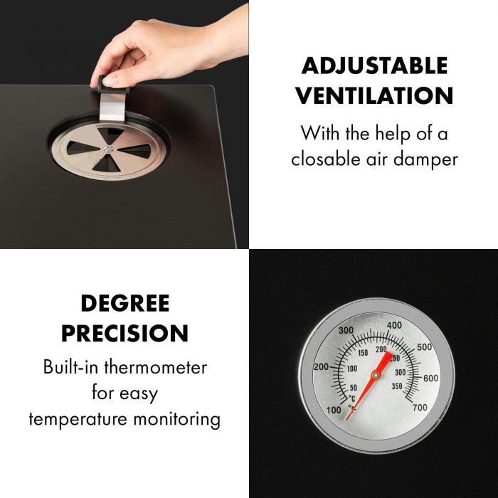 Pasadena Gas-Räuchergrill 2,5 kW Heizleistung 250 °C max.