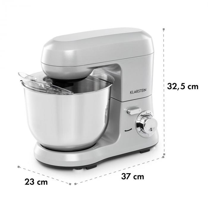 Bella Robusta Metal Food Processor 1.200 W 6 Steps 5.5 Litres Grey