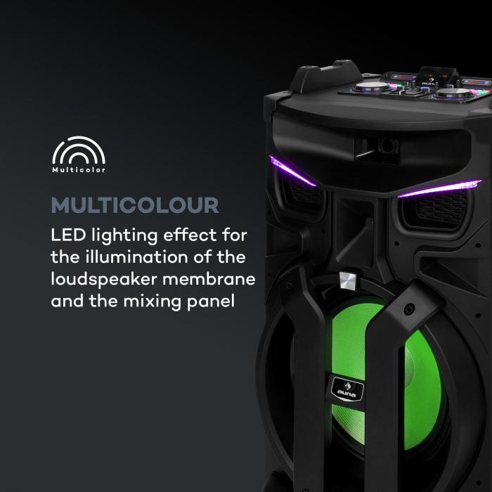 "Silhouettes party sound system 15"" altoparlante USB, SD, BT 450W nero"