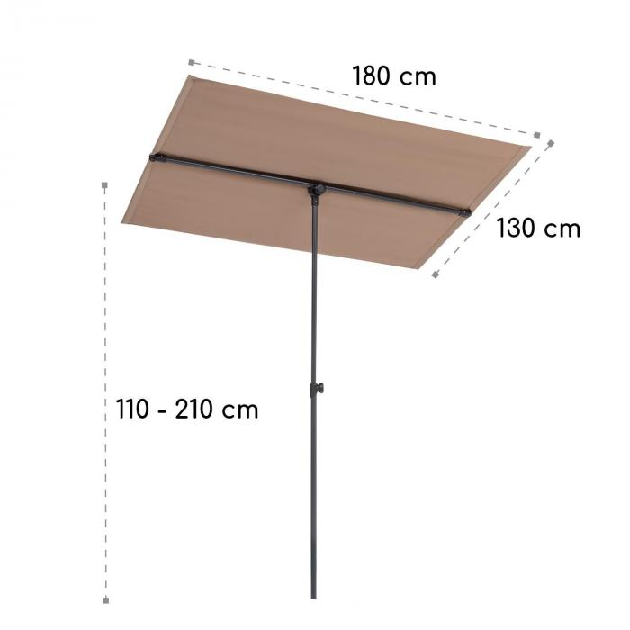 Flex-Shade L Sonnenschirm 130 x 180 cm Polyester UV 50 taupe