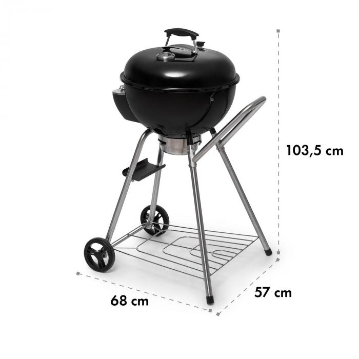 Beef Baron rund grill inkl. ventilation termometer golvhjul svart