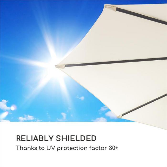 Estructura de Aluminio Revestimiento de PA Manivela Poli/éster Impermeable blumfeldt Belo Horizonte Base suministrada Rotaci/ón de 360/° Sombrilla Protecci/ón Solar UV 30 Altura Regulable Gris